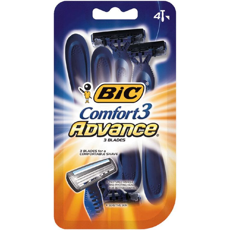 Bic Comfort 3 Advance Disposable Razor 4 Pack, , hi-res