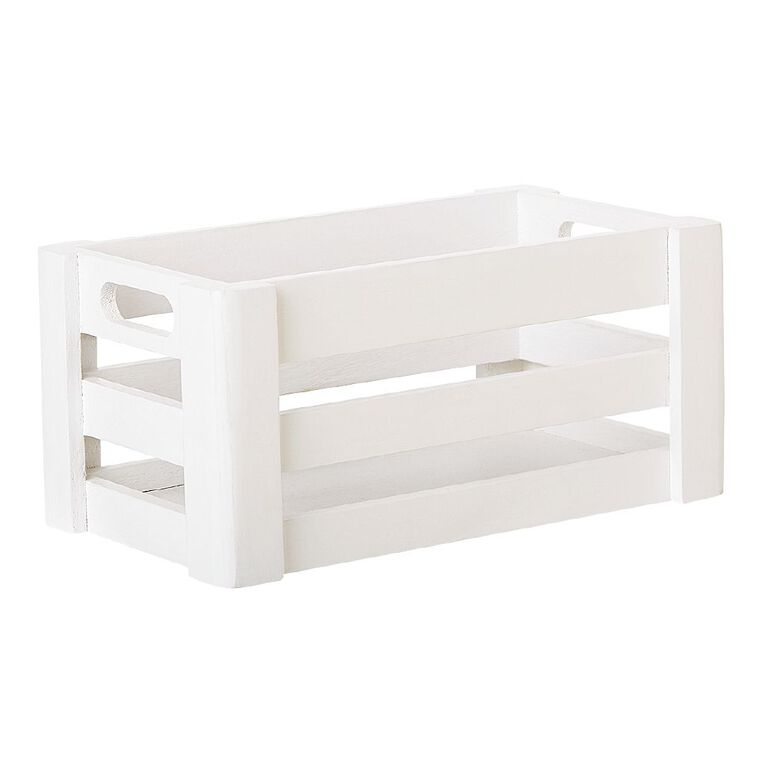 Living & Co Wooden Crate small White 13cm x 23cm x 10.5cm, White, hi-res