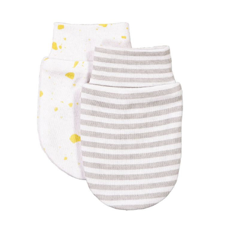 Young Original Baby 2 Pack Printed Mittens, White, hi-res
