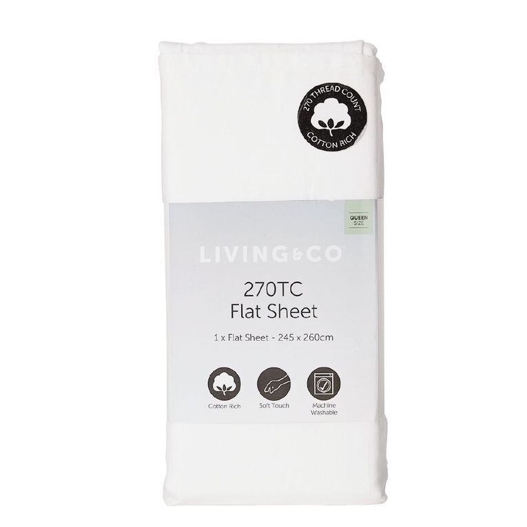 Living & Co Sheet Flat Cotton Rich 270 Thread Count White King Single, White, hi-res