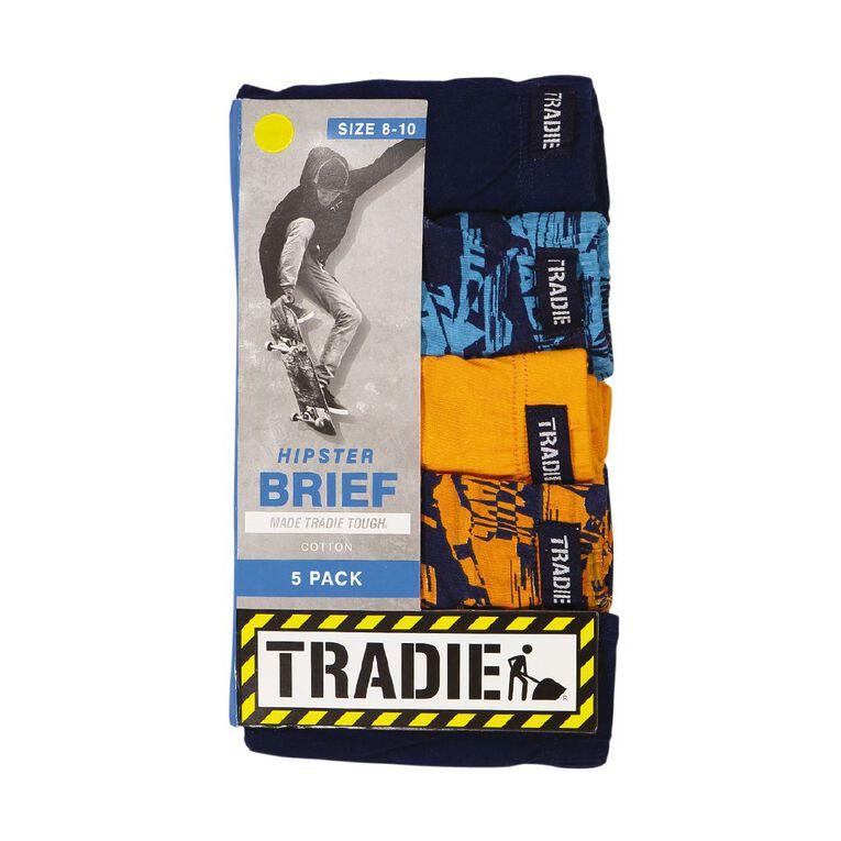 Tradie Boys' Brief 5 Pack, Blue/Grey, hi-res