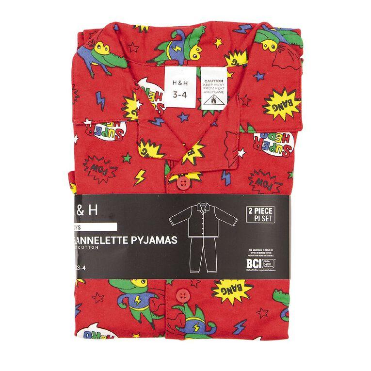 H&H Kids' Flannelette Pyjamas, Red, hi-res