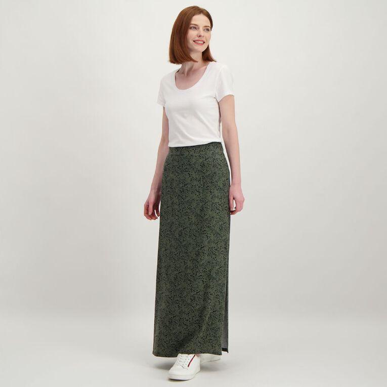 H&H Women's Split Midi Skirt, Green Dark, hi-res