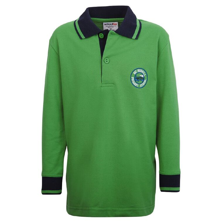 Schooltex Mt Roskill Primary Long Sleeve Polo with Embroidery, Emerald, hi-res