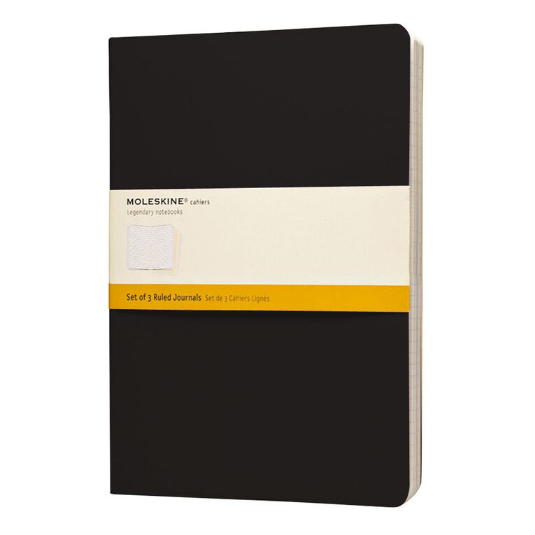 Moleskine Cahier Extra Large Notebook Ruled 3 Pack Black, , hi-res
