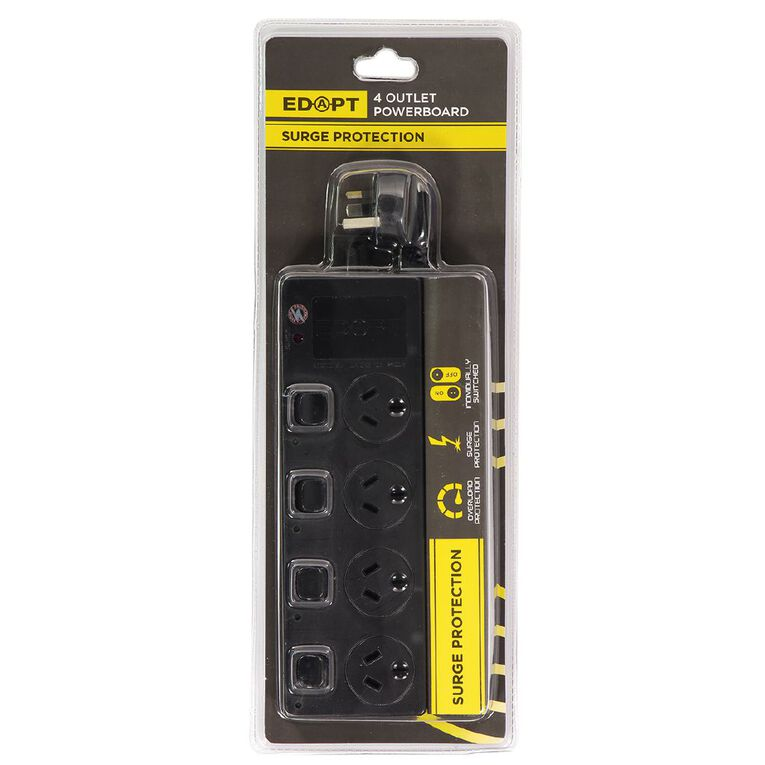Edapt 4 Way Powerboard Switch With Surge Protection Black, , hi-res