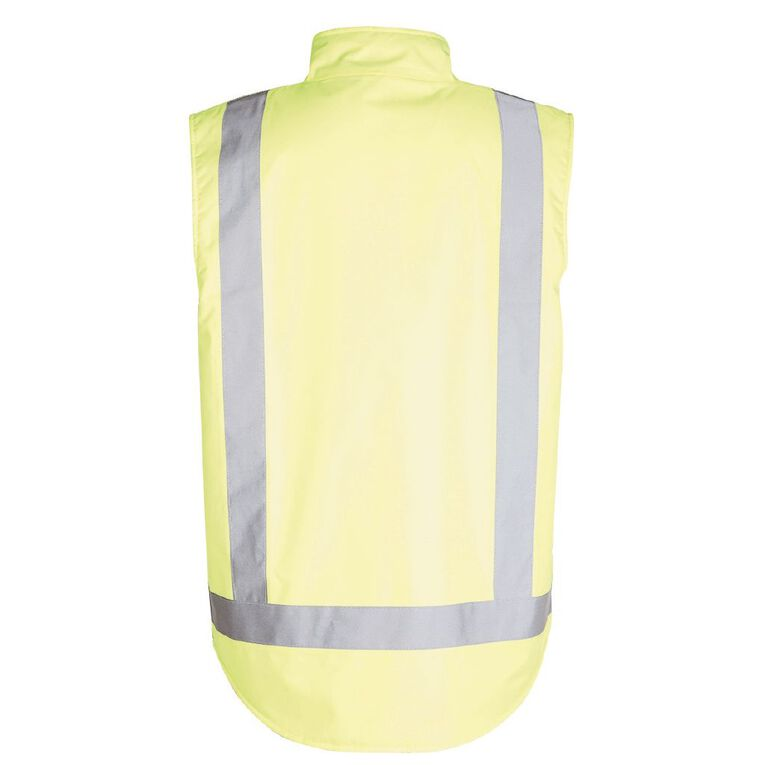 Rivet Fleece Lined Day and Night Compliant Work Vest, Yellow, hi-res