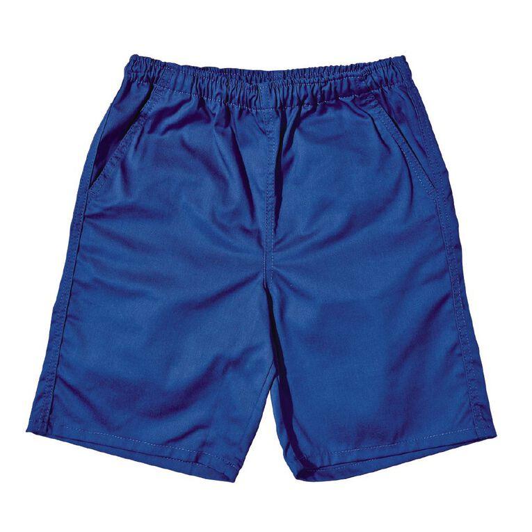 Schooltex Kids' Drill Rugger Shorts, Royal, hi-res