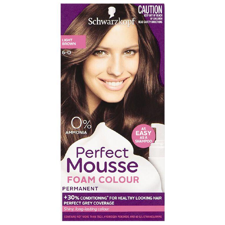 Schwarzkopf Perfect Mousse Hair Colour 6-0 Light Brown, , hi-res