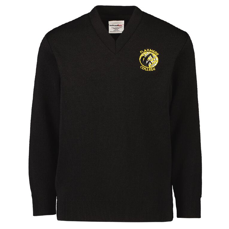 Schooltex Flaxmere College Jersey with Embroidery, Black, hi-res