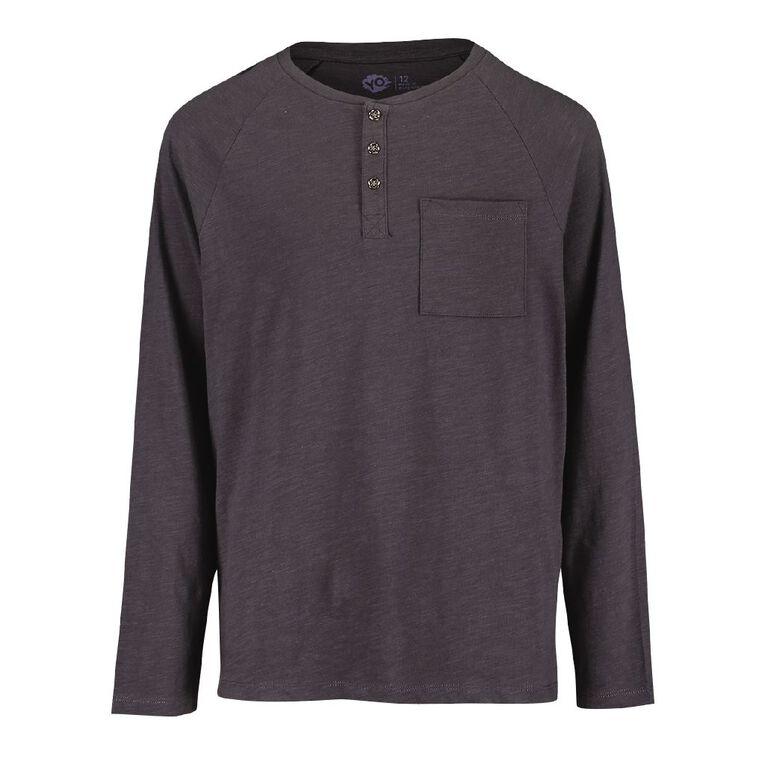Young Original Long Sleeve Henley Tee, Grey Dark, hi-res