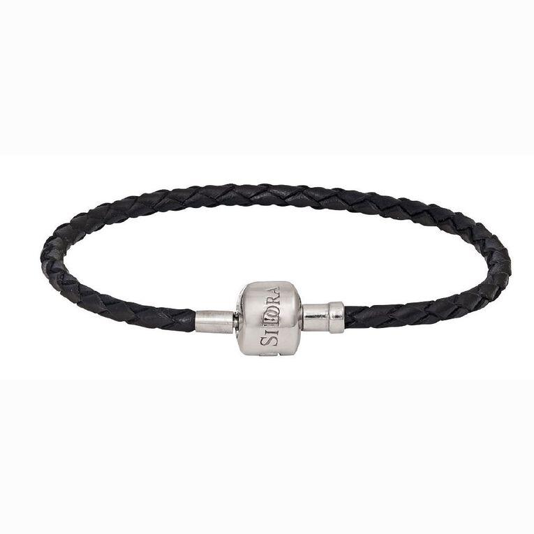Ane Si Dora Sterling Silver and Leather Bracelet, Black, hi-res