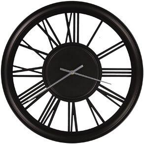 Living & Co Metal Station Wall Clock 44cm x 44cm Black