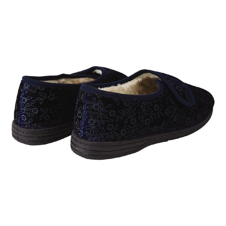 H&H Women's Strap Comfort Slippers, Navy, hi-res