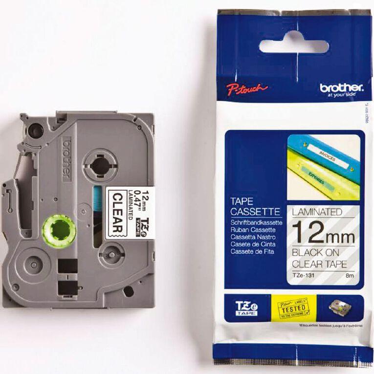 Brother Label Tape Tze-131 12mm Black On, , hi-res