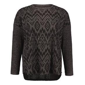 H&H Plus Women's Brushed Knit Print Top