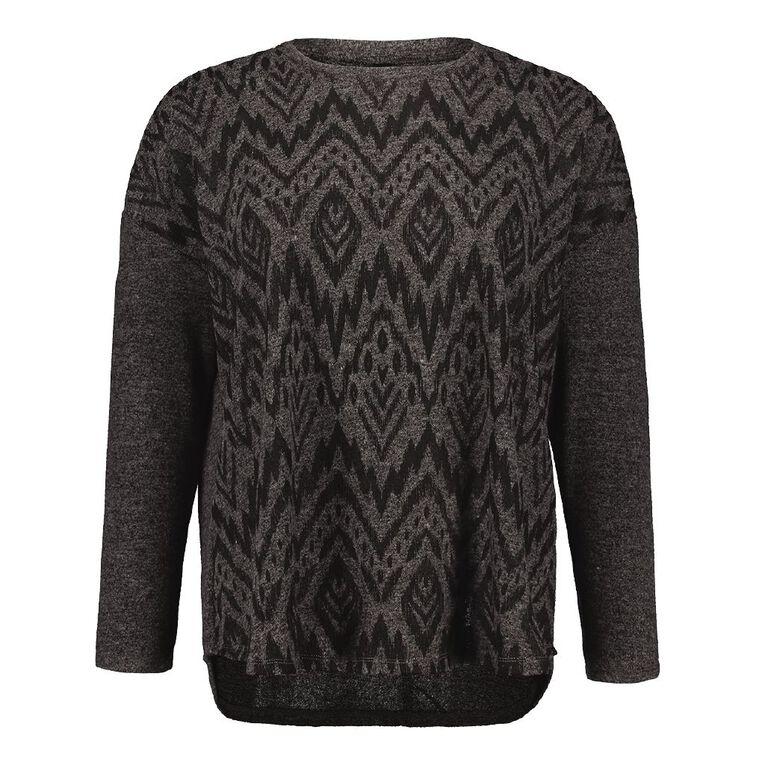 H&H Plus Women's Brushed Knit Print Top, Charcoal/Marle, hi-res