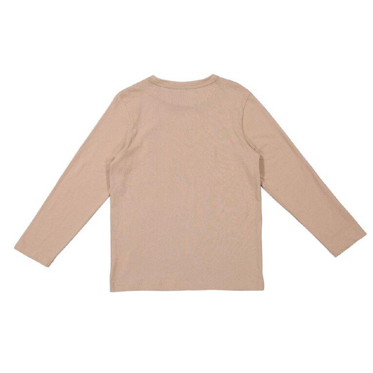 Young Original Long Sleeve Essential Print Tee, Brown Light, hi-res