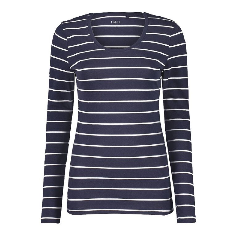H&H Long Sleeve Scoop Neck Top, Navy/White, hi-res