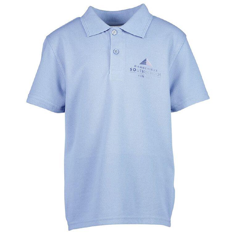 Schooltex Dannevirke South Polo with Screenprint, Sky Blue, hi-res