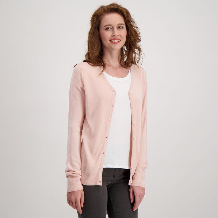 H&H Women's Button Through Cardigan, Pink, hi-res