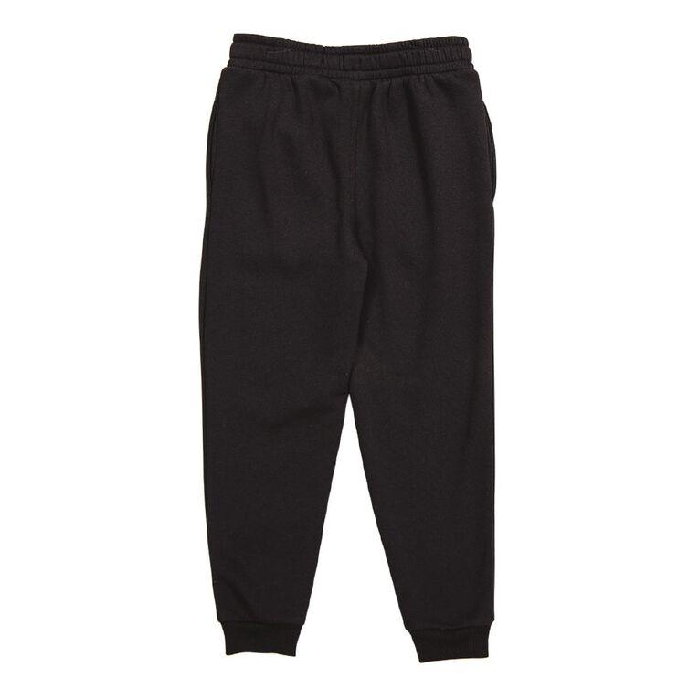 Young Original Kids' Plain Rib Cuff Trackpants, Black, hi-res