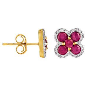 0.15 Carat Diamond 9ct Gold Synthetic Ruby Cluster Stud Earrings