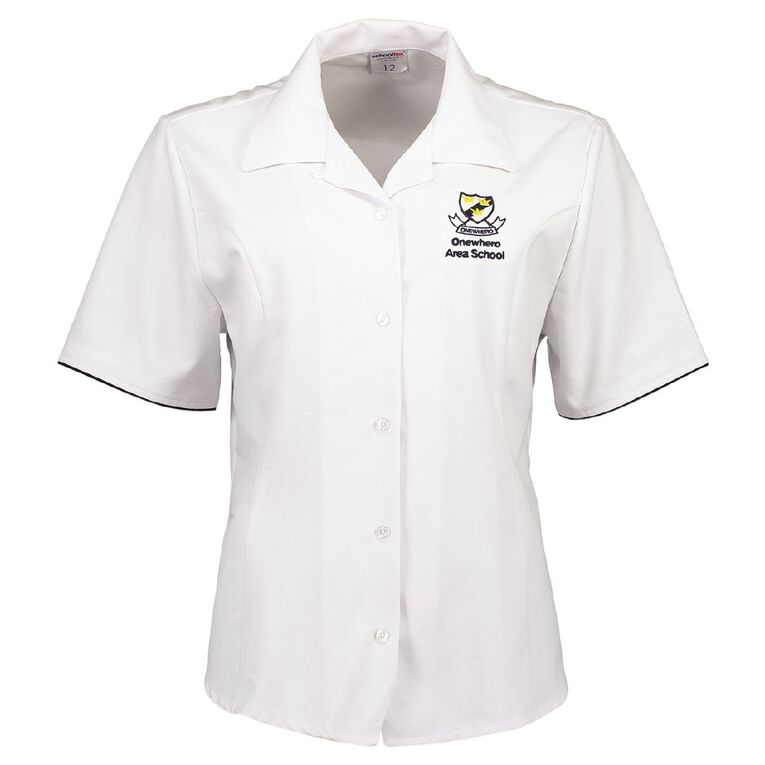 Schooltex Onewhero Area School Short Sleeve Blouse with Embroidery, White, hi-res