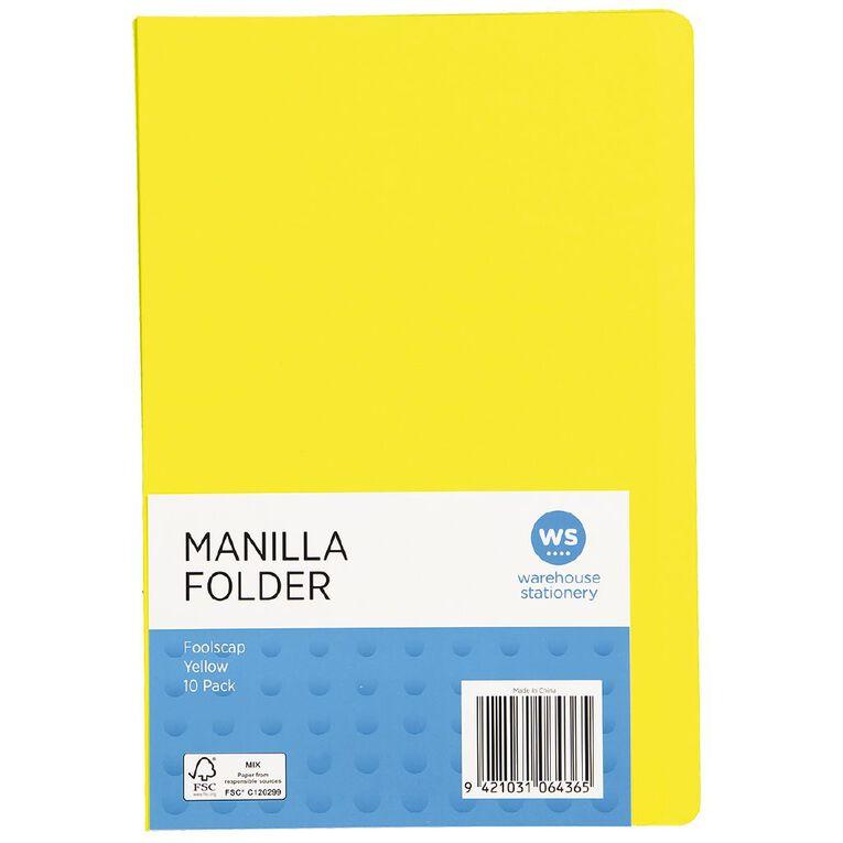 WS Manilla Folders Foolscap 10 Pack, , hi-res
