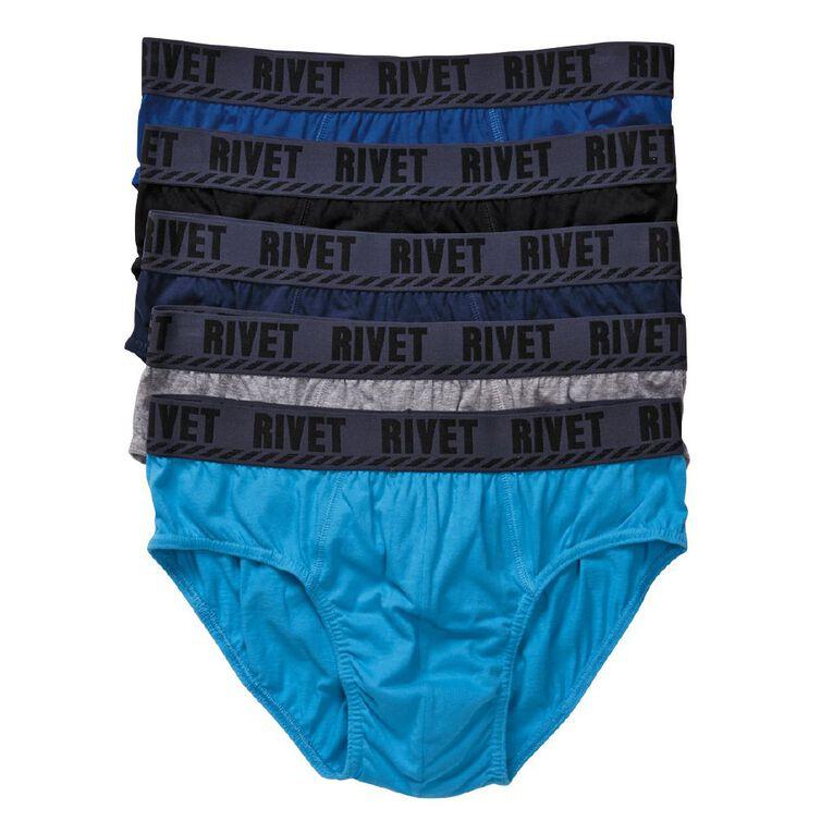 Rivet Men's Briefs 5 Pack, Black, hi-res image number null