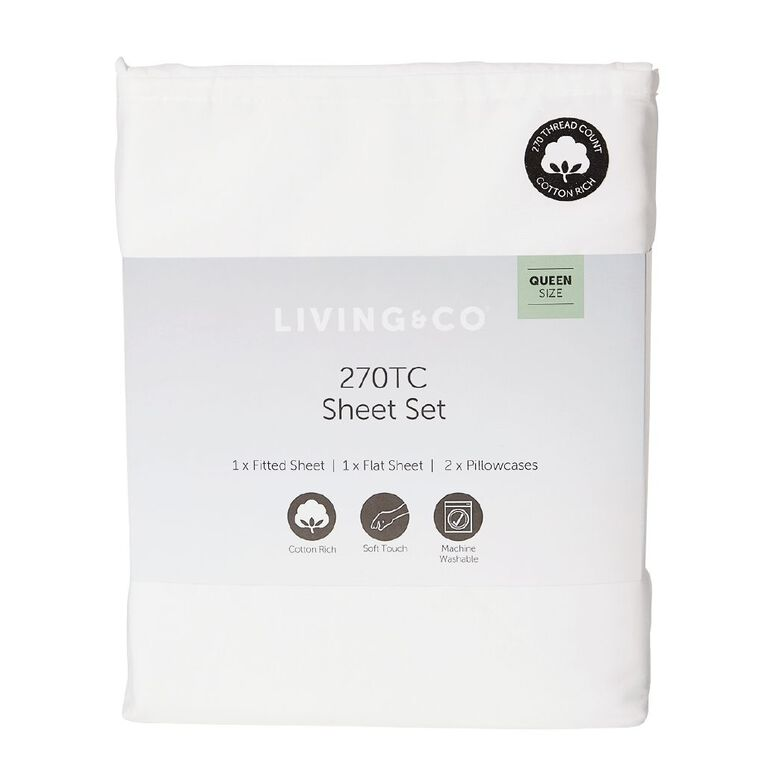 Living & Co Sheet Set Cotton Rich 270 Thread Count White Queen, White, hi-res image number null