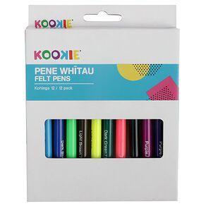 Kookie Te Reo Felt Pens 12 Pack