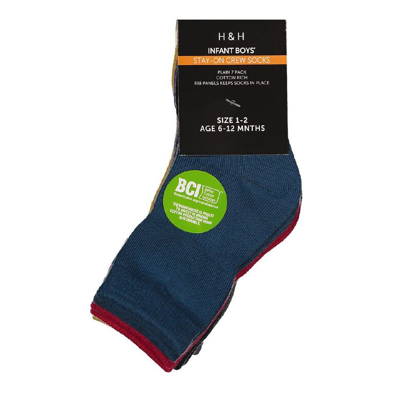 H&H Infants Boys' Stay On Crew Socks 7 Pack, Mixed Assortment, hi-res