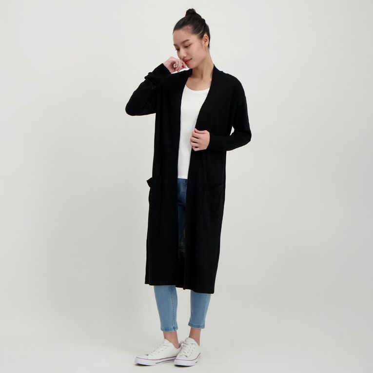 H&H Women's Longline Cardigan, Black, hi-res