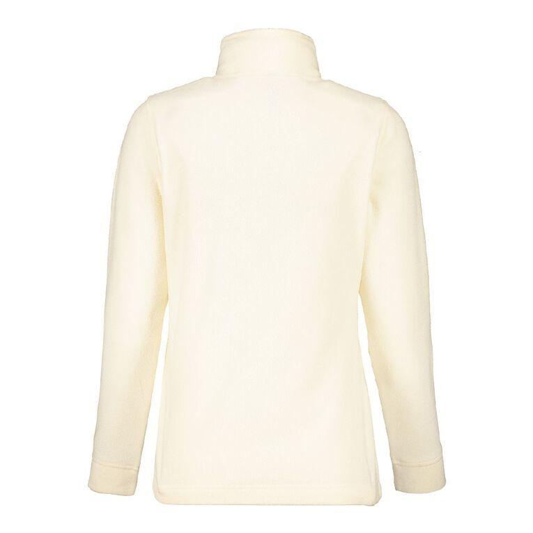 H&H Women's Microfleece Zip Thru Sweat, Cream, hi-res