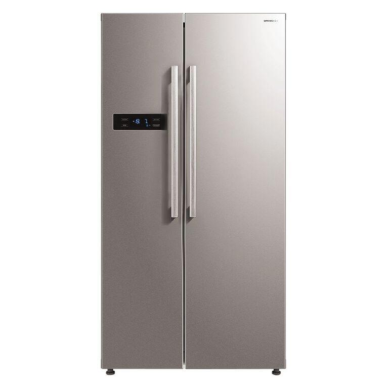 Living & Co Side By Side Fridge/Freezer 584 Litre Stainless Steel, , hi-res