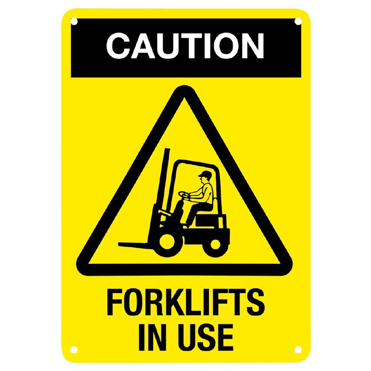 WS Caution Forklift in Use Sign Small 340mm x 240mm, , hi-res