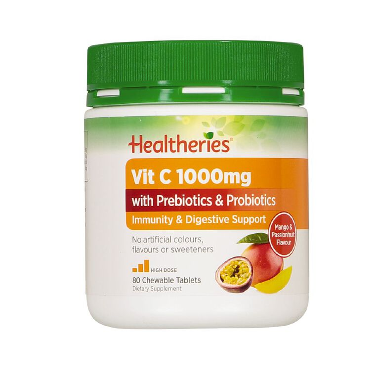 Healtheries Vitamin C 1000mg with Prebiotics & Probiotics 80s, , hi-res