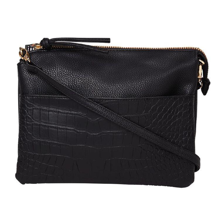 H&H Two Tone Crossbody Handbag, Black, hi-res