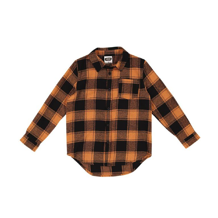 Young Original Long Sleeve Flannel Shirt, Orange Mid, hi-res