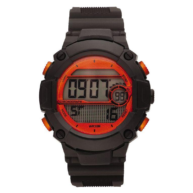 Active Intent Men's Sports Digital Watch Black Orange, , hi-res