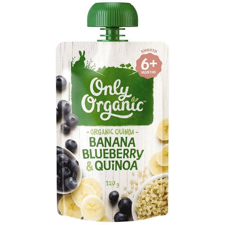 Only Organic Banana Blue Berry & Quinoa Pouch 120g, , hi-res