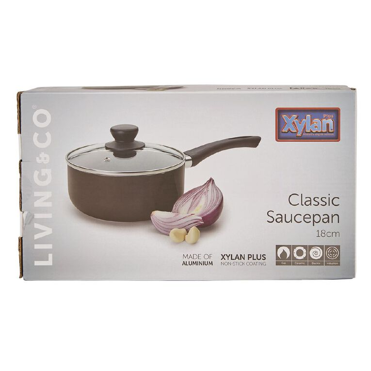 Living & Co Classic Saucepan Black 18cm, , hi-res