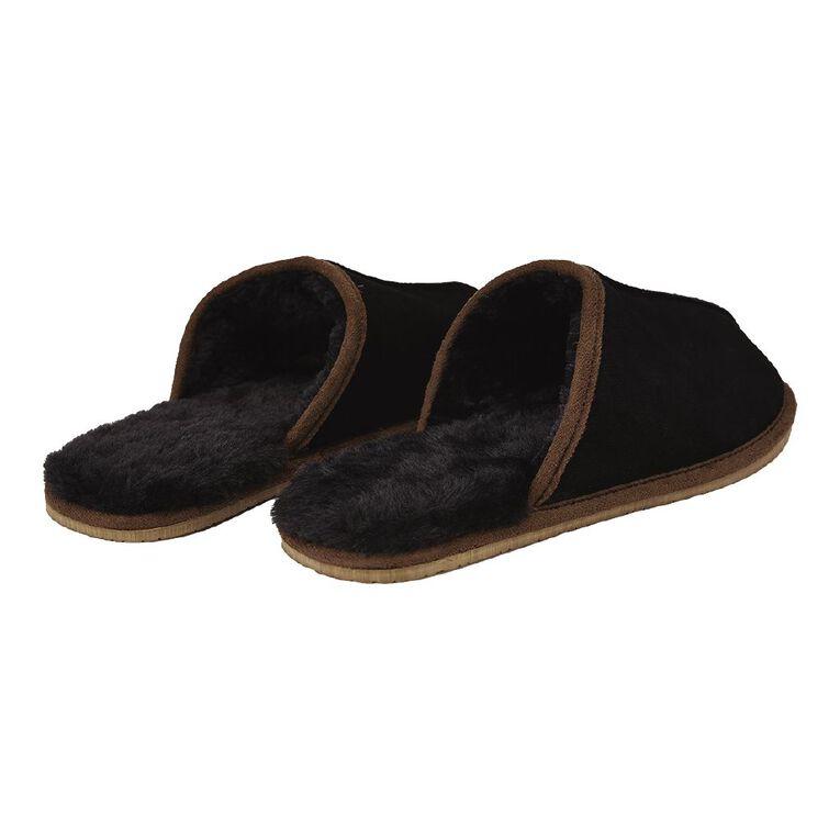 H&H Richie Suede Slippers, Black, hi-res
