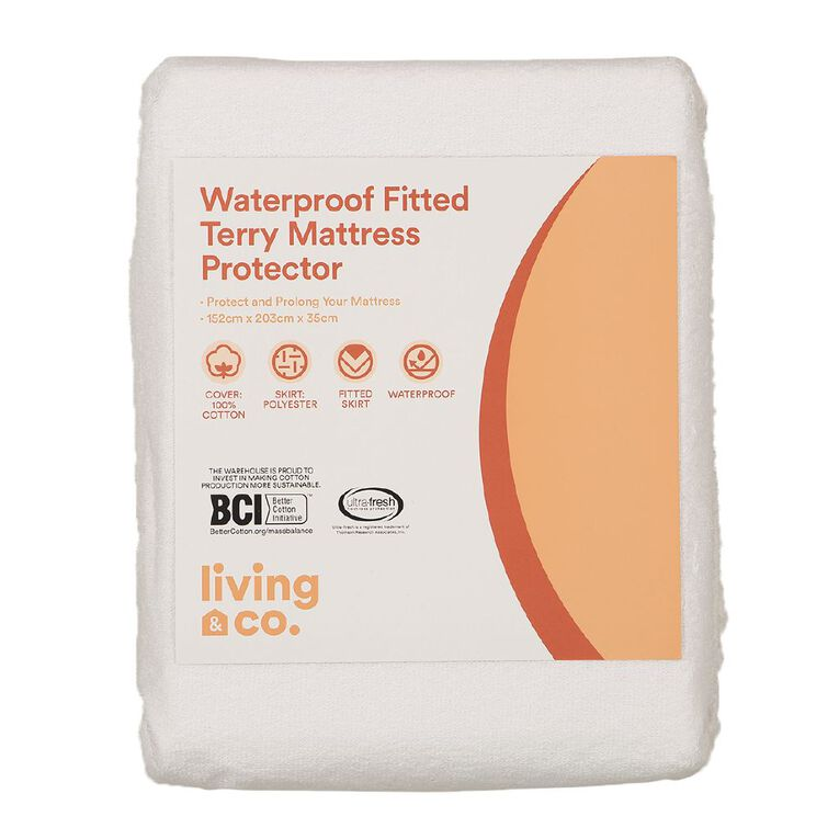 Living & Co Mattress Protector Terry White Queen, White, hi-res