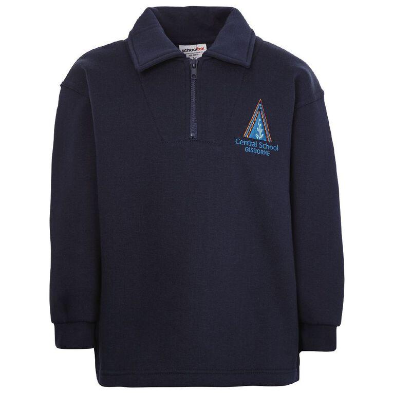 Schooltex Gisborne Central Zip Sweatshirt with Embroidery, Navy, hi-res