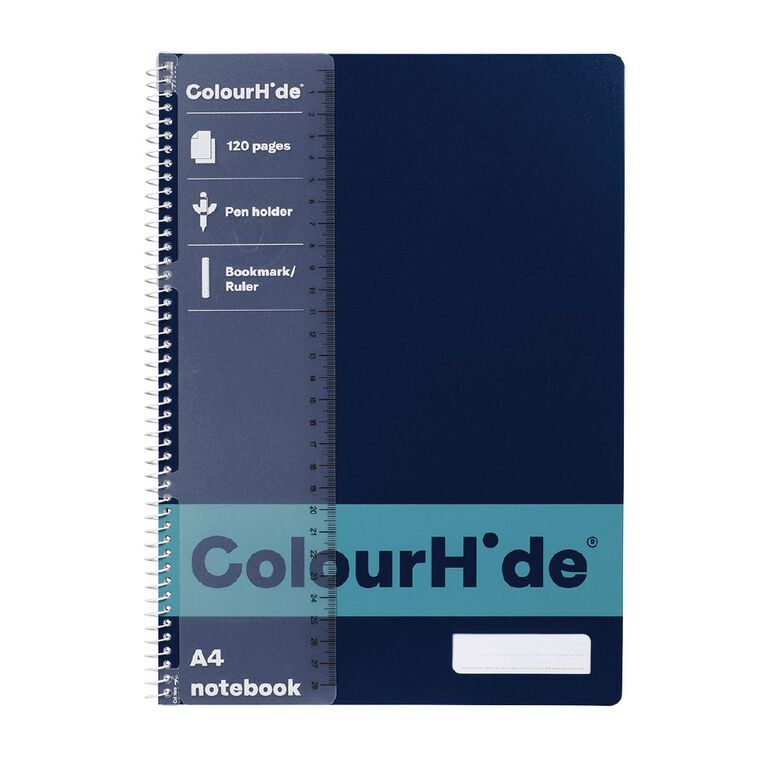 ColourHide Notebook 120 Page Navy A4, , hi-res