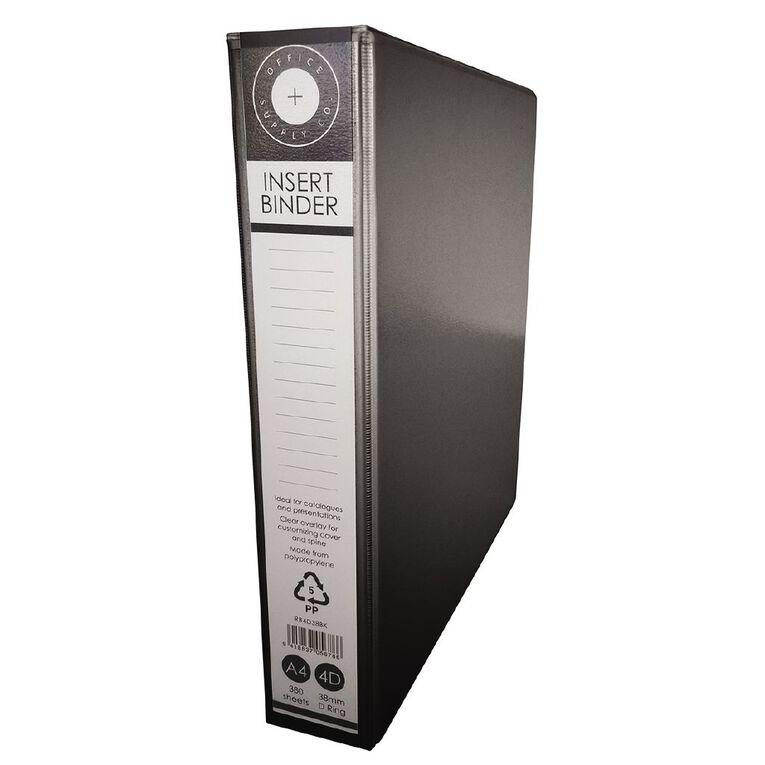 Office Supply Co 4D 38mm Ringbinder Black A4, , hi-res