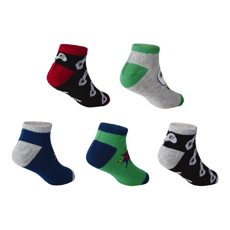 H&H Boys' Jacquard Liner Socks 5 Pack, Black/Red, hi-res image number null