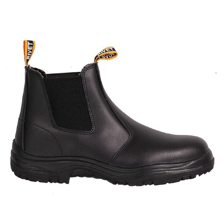 Rivet Omgee Slip On Steel Toe Work Boots, Black, hi-res
